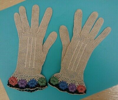 Stunning Handmade Crochet Vintage Gloves - Perfect