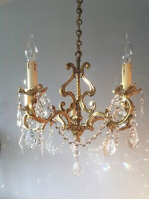 Gorgeous ✨ French Vintage Gilt Bronze Brass & Crystal Glass  5 Light Chandelier