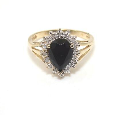 10K Yellow Gold Ring Size 8 Black Onyx Diamond Halo