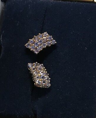 Yellow Gold Elegant Tanzanite Stud Earrings