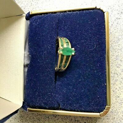 14K Yellow Gold Emerald Band Ring - Engagement Ring - Expedited Shipping