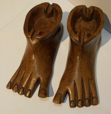Carved Wooden Feet Folk Art Bare Foot Ash Trays Wood Carving Treen Bookends ??