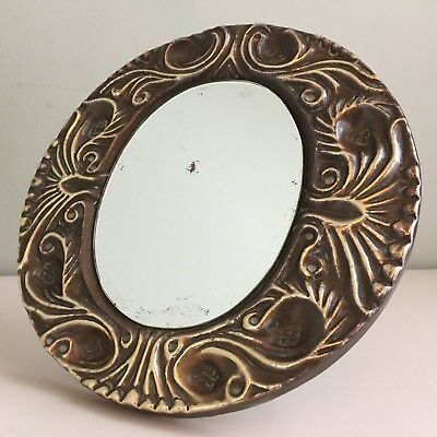 Antique Brass Arts & Crafts Strut Mirror Easel Table Round Foxed Small 19cm m48