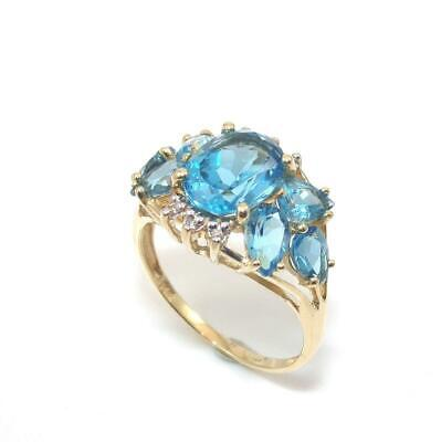 14K Yellow Gold Ring Size 9.5 Blue Topaz Diamond