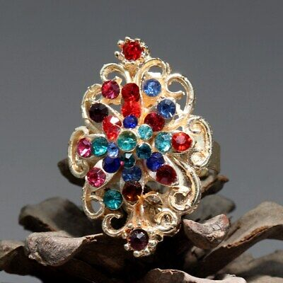 Collectable China Old Cloisonne Hand-Carved Bloomy Flower Delicate Noble Ring