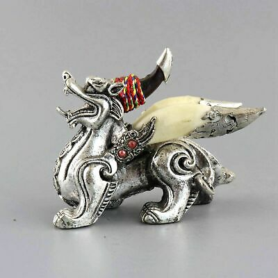 Collect Old Tibet Silver Inlay Wolf Tooth Carved Myth Kylin Bring Luck Statue