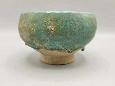 ANTIQUE TURQUOISE BLUE GLAZE POTTERY BOWL INTACT ISLAMIC MIDDLE EAST 10th-13thC