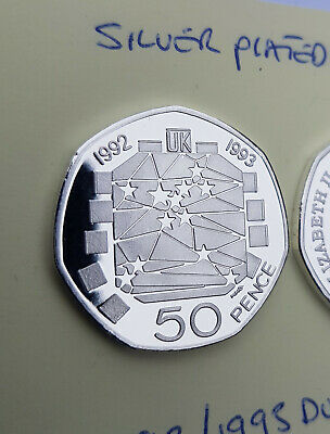 50p COIN 1992/1993 UK Presidency Of The EU SILVER PLATED PROOF FINISH MULTI LIST