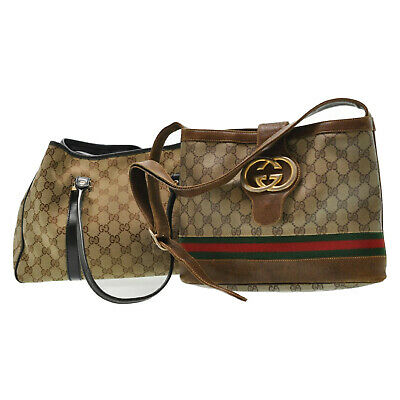 GUCCI Sherry Line GG Canvas Shoulder Bag Tote Bag 2Set Brown Auth ar2370