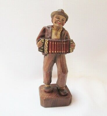 Antique German Hand Carved and Painted Wood Figure of Man Playing Accordion