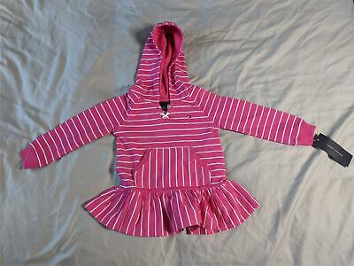 Tommy Hilfiger Girl's Stripe Hooded Tunic Top & Pants Set AB3 Pink/White Size 2T