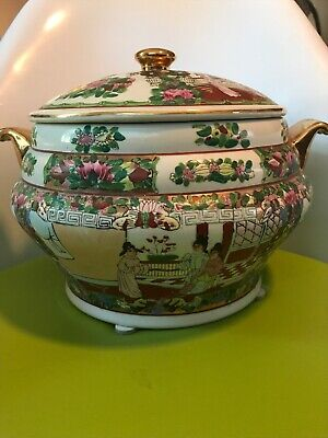 Large Antique 19th C. Chinese Rose Medallion Tureen And Lid