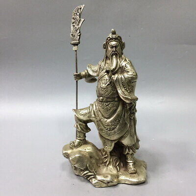 Exquisite Decor Miao Silver Carved Duke Guan Mighty Auspicious Atmosphere Statue