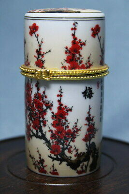 Collectable Rare Porcelain Painting Plum Blossom Full Bloom Noble Toothpick Box