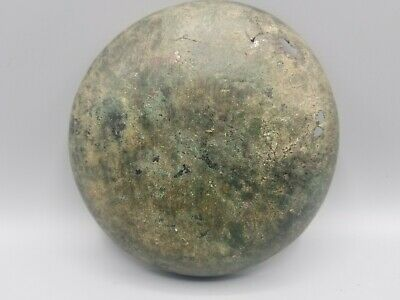 ANCIENT GREEK BRONZE SHALLOW BOWL DEEP GREEN PATINA c 5th-6th cent BCE