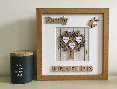 Scrabble Art Picture Frame - Wooden Tree - Any Occasion