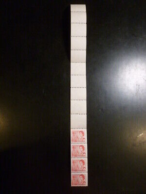 CANADA, 4c Centennial coil END strip of 10 labels / four stamps on DF ppr, #467