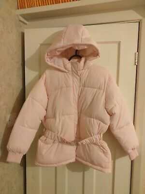 New Girls Lipsy Light Pink Padded Jacket Coat with Hood Age 14 Years BNWT
