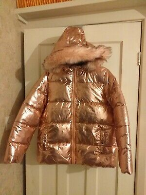 New Girls Lipsy Shiny Pink Padded Jacket Coat with Hood Age 14 Years BNWT