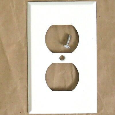White Metal Duplex Receptacle Cover Plate