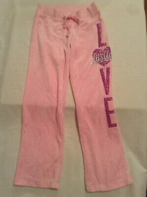 Size 6 Justice pants yoga sweat pink glitter heart LOVE girls