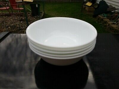 """5 Corelle WINTER FROST WHITE Soup or Cereal Bowls 6.25"""" Nice Glossy Condition!"""