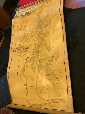 Antique 1895 Colored Map of East Stroudsburg Pa Borough from Municipal Building