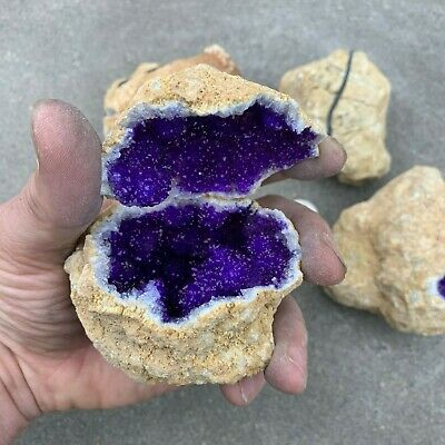 (1) VERY LARGE NATURAL GEODE Crystal with PURPLE Center ~ (1/2 - 1.5 Pound ea.)