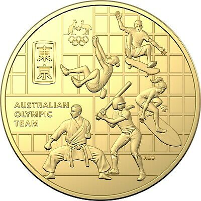 Australia 2020 Olympic Team 50c Round CuNi Gold Plated UNC Coin Carded RAM