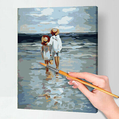 Canvas Paint By Numbers Kit Hand Oil Painting DIY See to Sea No Frame Art Gift