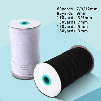 3-12mm White Black Flat Elastic Cord Sewing Woven Dressmaking Crafts Clearance