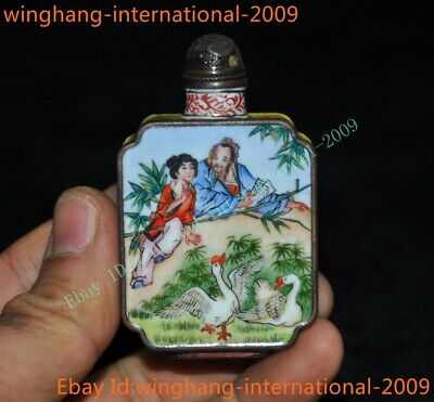 Old China dynasty Bronze Cloisonne ancient Old man girl swan statue snuff bottle