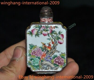 Old Chinese dynasty Bronze Cloisonne peach flower bird Crane statue snuff bottle