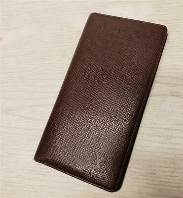 Authentic LOUIS VUITTON Brown Acajou Taiga Leather Checkbook Wallet UNISEX