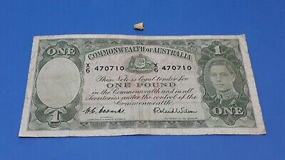 Old Gold & Old Note - A Stunning Aussie Gold Nugget .70gm & 1952 One Pound Note