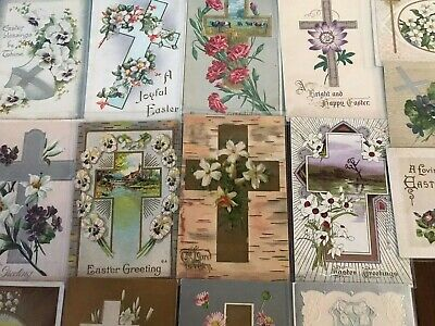"LOT of 15 BEAUTIFUL Antique~"" EASTER CROSSES"" with Flowers CROSS POSTCARDS-p811"