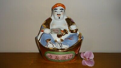 """Vintage Chinese Ceramic 9"""" Old Wise Man In Gold & Multi Colours ~ Hand Painted!"""