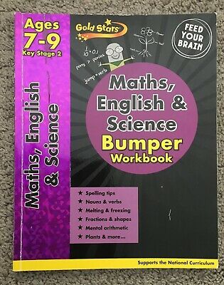 Gold Stars KS2 Maths,English And Science Bumper Workbook Age 7-9 Homeschooling