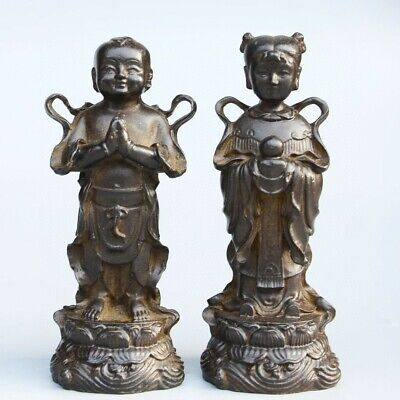 Collect Old Red Copper Hand-Carved Fairchild Bring Luck A Pair Delicate Statue