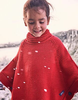 Joules Girls Tess Knitted Poncho - RED