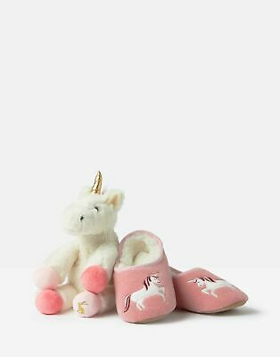 Joules Girls Slipper And Soft Toy Gift Set - CREAM UNICORN