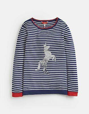 Joules Girls Miranda Intarsia Jumper  - NAVY STRIPE SEQUIN HORSE