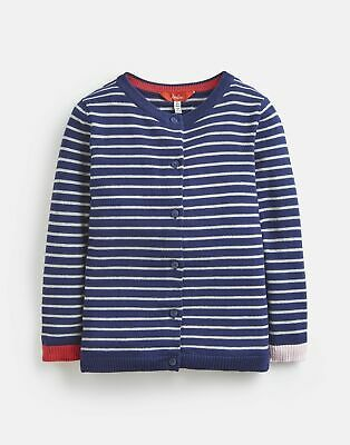 Joules Girls Glinda Fun Elbow Cardigan  - NAVY SILVER STRIPE