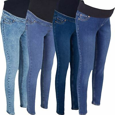 Ex Store Ladies Womens Blue Over Bump Maternity Skinny Stretch Jeans Jeggings