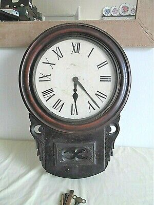 Antique Mahogany  School / Train Station  Clock   (((  Not Working  ))) See Info