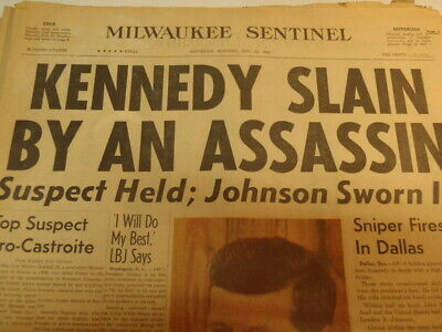 2 JFK and 1 Oswald Newspapers 1963