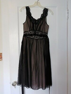 Vintage Vanity Fair Nightgown Size Large Black and Pink Sleeveless lace Nightie