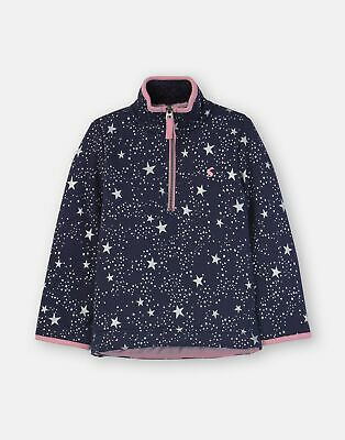 Joules Girls Fairdale Luxe Fur Lined Half Zip Sweat  - NAVY STAR