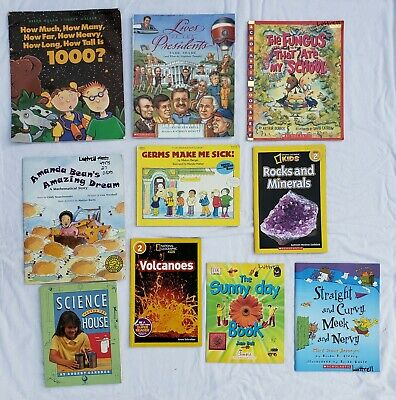 Lot 10 Childrens Kids Books Science Math Numbers President Volcano Minerals