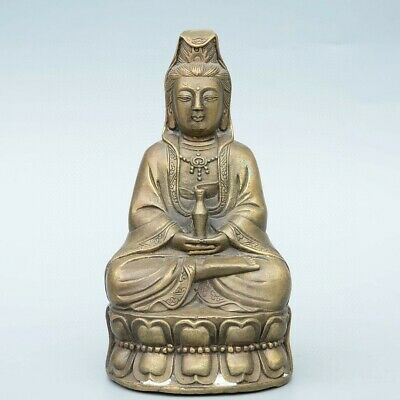 Collectable China Old Bronze Hand-Carved Kwan-Yin Bodhisattva Buddhism Statue